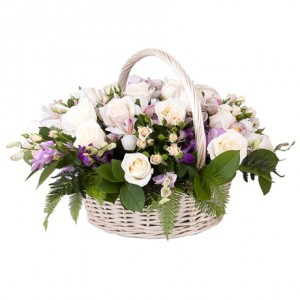 Цветы в корзине «Перышко»