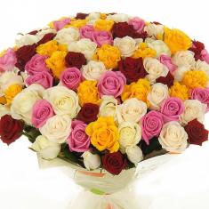 Букет из 81 розы «Розовый микс 2″