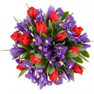 Букет из ирисов и тюльпанов «Вызов»