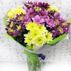 Букет цветов «Вальс хризантем нежный»