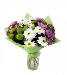 Букет цветов из хризантем «Зеленая поляна»