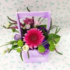 Цветы в деревянных ящичках ручной работы №3