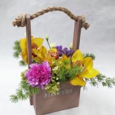 Цветы в деревянных ящичках ручной работы №7