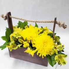 Цветы в деревянных ящичках ручной работы №5