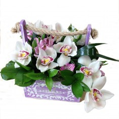 Цветы в деревянных ящичках ручной работы №2