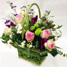 Корзина с цветами «Зеленая»