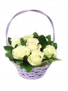 Цветочная корзина «Белая роза»