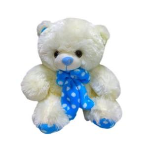 Мягкая игрушка Медведь с синим бантом в горошек