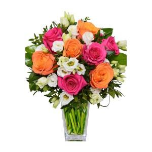 Букет цветов из роз и эустомы «Симфония»