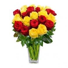 Роза красная + желтая Эквадор